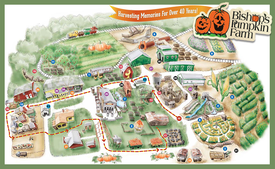 Attractions Map for Bishops Pumpkin Patch in Wheatland, CA, showing location of  pgi races, gem stone mining, train, tree house, great pumpkin, gift shop, Pigadelli Square restaurants, BBQ, corn maze, antique tractors, and much more!